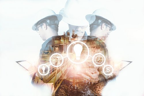 Double exposure of Engineer or Technician man with industry tool